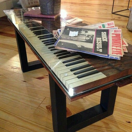 upcycled and repurposed pianos: piano coffee table