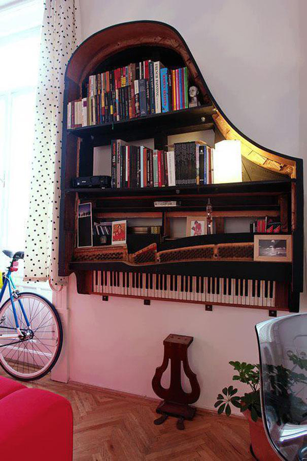 upcycled and repurposed pianos: Piano Shelf